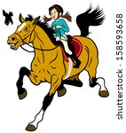 cartoon girl riding horse ... | Shutterstock .eps vector #158593658