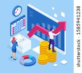 isometric business to business... | Shutterstock . vector #1585941238