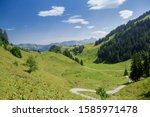A path leading across lush meadows, Frontal valley, Stoos, Morschach, canton of Schwyz, Switzerland