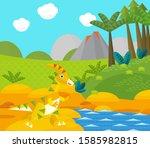 cartoon happy dinosaur near... | Shutterstock . vector #1585982815