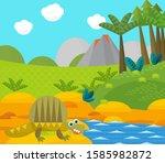 cartoon happy dinosaur near... | Shutterstock . vector #1585982872
