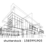house building architecture... | Shutterstock .eps vector #1585991905