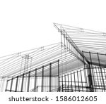 house building architecture... | Shutterstock .eps vector #1586012605