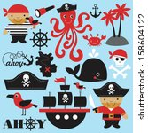 cute pirate objects collection. ... | Shutterstock .eps vector #158604122