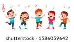 happy cute kids boy and girl... | Shutterstock .eps vector #1586059642