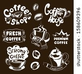 set of coffee shop sketches... | Shutterstock .eps vector #158609396