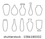 various forms of vases. home...   Shutterstock .eps vector #1586180332