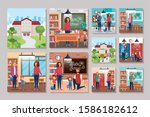 bundle back to school with set... | Shutterstock .eps vector #1586182612