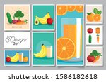 bundle healthy fruits and... | Shutterstock .eps vector #1586182618