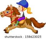 little girl riding a pony horse | Shutterstock .eps vector #158623025