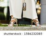 elegant unrecognizable woman... | Shutterstock . vector #1586232085