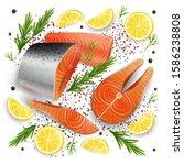 salmon red fish raw steaks ... | Shutterstock .eps vector #1586238808