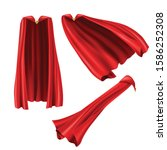 red superhero cape  cloak with... | Shutterstock .eps vector #1586252308