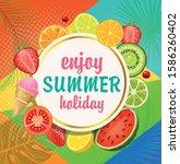 vector illustration  summer... | Shutterstock .eps vector #1586260402
