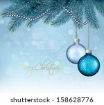 christmas background with balls ... | Shutterstock .eps vector #158628776