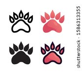 bear footprint logo icon design ...
