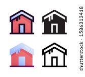 house logo icon design in four...