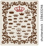 royal crown set with floral... | Shutterstock .eps vector #158633246