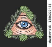 eyes tropical leaf triangle... | Shutterstock .eps vector #1586333488