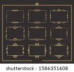 set of art deco vintage golden... | Shutterstock .eps vector #1586351608