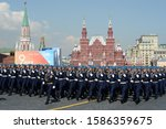 Small photo of MOSCOW, RUSSIA - MAY 7, 2019:Cadets of the Air force Academy named after Professor N.E. Zhukovsky and Yu. a. Gagarin at the dress rehearsal of the parade on red square in honor of Victory Day