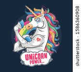 unicorn cute and funny muscle...   Shutterstock .eps vector #1586360908