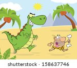 Angry Green Dinosaur Chasing A...