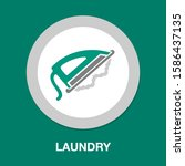 laundry. ironing clothes... | Shutterstock .eps vector #1586437135