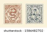 vintage postage stamp for album.... | Shutterstock .eps vector #1586482702