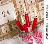 christmas eve  four red burning ...   Shutterstock . vector #158650418
