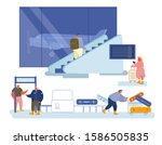people traveling concept. men... | Shutterstock .eps vector #1586505835