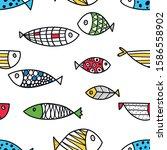 Cute Line Fish. Vector Seamless ...