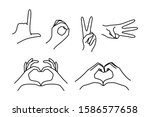 female hands gestures fingers...   Shutterstock .eps vector #1586577658