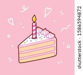 Slice Of Birthday Cake With...
