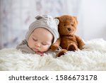 Sweet Baby Boy In Bear Overall  ...
