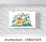 white banner with business plan ... | Shutterstock . vector #158667635