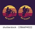 motocross jump silhouette with...   Shutterstock .eps vector #1586694022