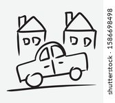 kids drawing vector  car and... | Shutterstock .eps vector #1586698498