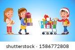 Kids Shopping Winter Holiday...