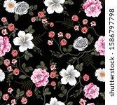 seamless flower pattern on black | Shutterstock .eps vector #1586797798
