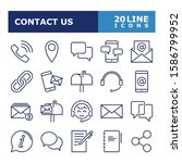 contact us icons. contact and... | Shutterstock .eps vector #1586799952