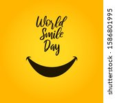 smile with tongue and lettering ... | Shutterstock .eps vector #1586801995
