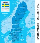 vector map of sweden with... | Shutterstock .eps vector #1586814442