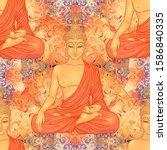 buddha seamless pattern.... | Shutterstock .eps vector #1586840335