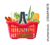 full shopping basket of market... | Shutterstock .eps vector #1586894878