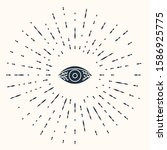 grey reddish eye due to viral ... | Shutterstock .eps vector #1586925775