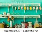 Vintage Wooden Kitchen Counter
