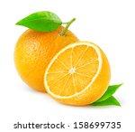 Isolated Orange. Whole And Cut...