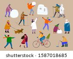 a set of people involved in the ... | Shutterstock .eps vector #1587018685