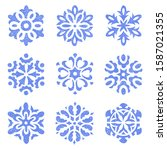 set of vintage snowflakes drawn ...   Shutterstock .eps vector #1587021355
